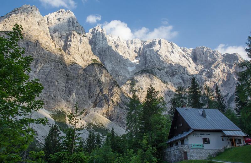 Slajmerjev Dom 1015m with Mount Stenar 2501m