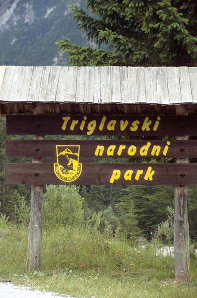 Sign of Triglav National Park (Kransjka Gora, Julian Alps, Slovenia, July 1996)