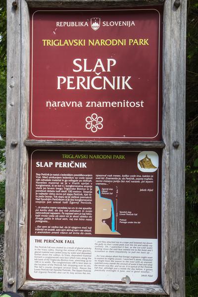 Sign Peričnik Falls,