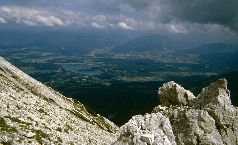 view from the Karawanken to the North, Faakersee and Villach