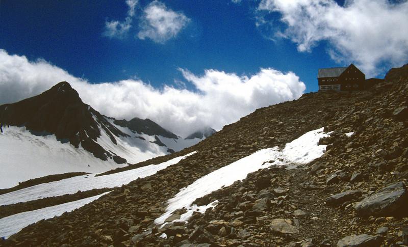 Schesaplana 2965m and Mannheimer hutte 2679m.