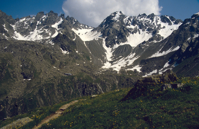 Silvretta mountains with Tubinger hutte 2191m and Kessi summits