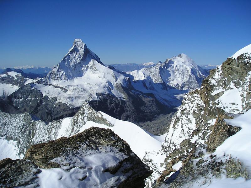 Matterhorn 4478m.and Dent d'Herens 4171m.