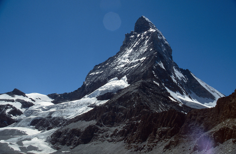 Matterhorn 4478m with Hörnli ridge and Hörnli Hütte, summer 2000