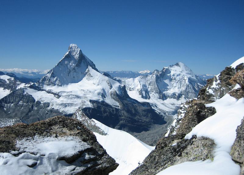 Matterhorn 4478m and Dent d'Herens 4171m.