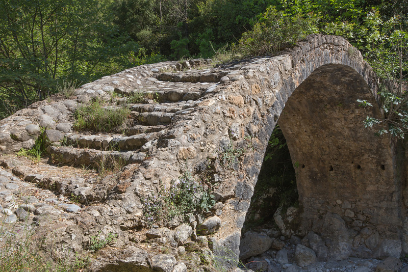 Old bridge in the Mili Gorge, habitat of Campanula topaliana ssp. topaliana