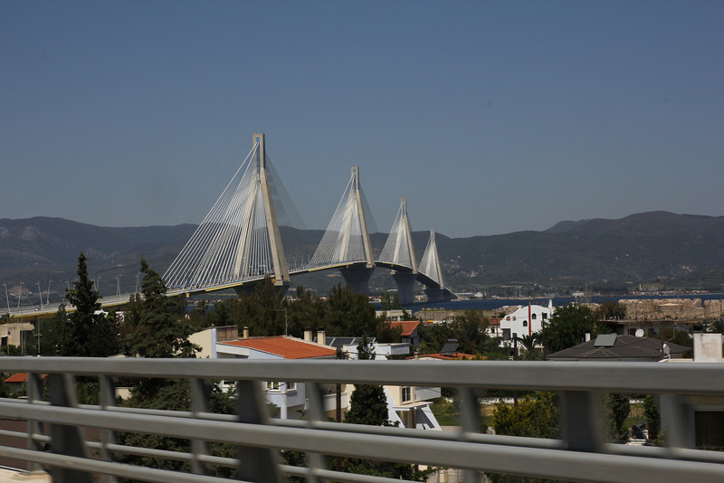 Bridge (near Patra), between the Peloponnese and the mainland of Greece. Entrance to mainland Greece. (see: Gallery mainland Greece in the spring)