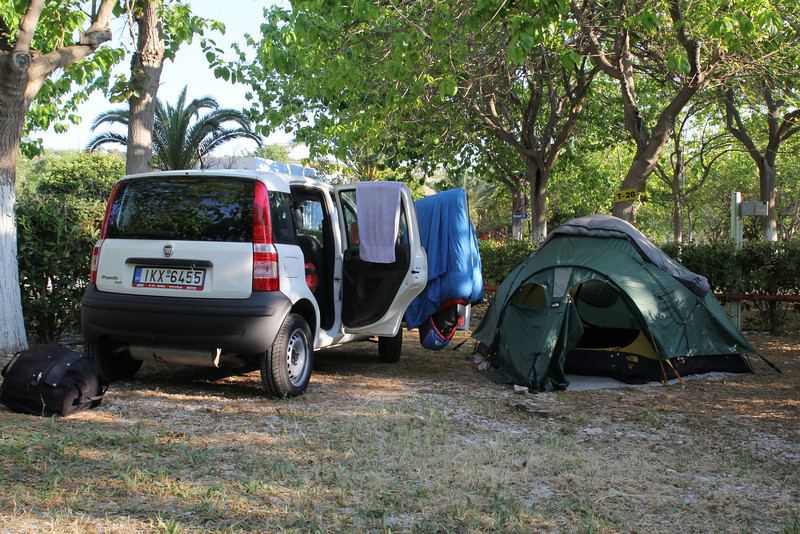 Camping in Mistras, Peloponnese