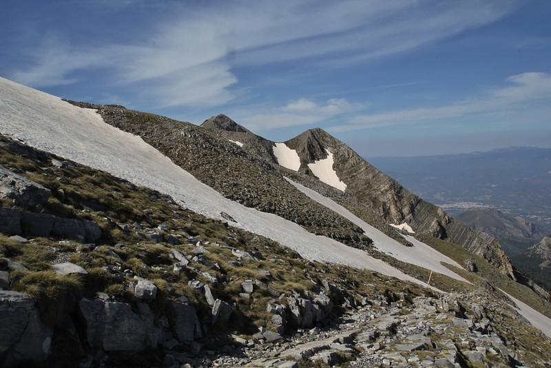 Ascending-Profitis Ilias 2407m, highest summit, Taigetos mountains, Sparti in the background (SW of Sparti)