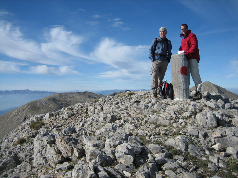 Marijn and Kees Jan on one of the higher summits of Parnassos (Mount Parnassos)