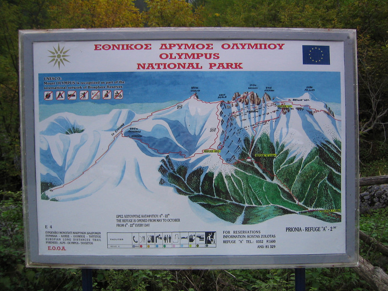 sign of Mount Olympus National Park (Prionia, Mount Olympus)