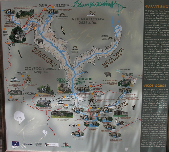 map of the Vikos Gorge, near Monastery at Monondendri