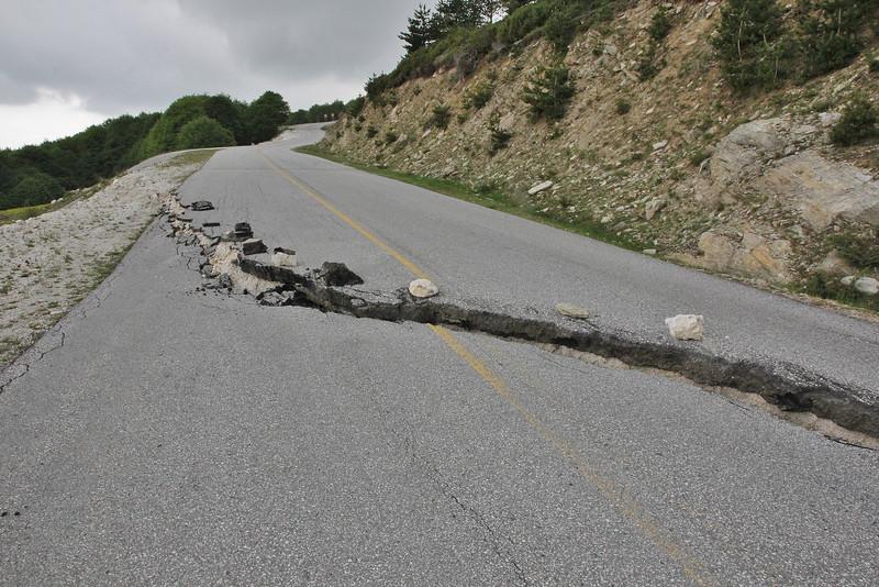 Road conditions of the closed Kajmaktcalan pass, Kajmaktcalan, 2521m, near the Macedonian border (L)