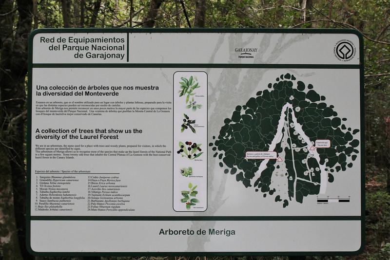 """Sign of 'Arboretum' Red de Equipamientos, 'Meriga' (nabij Los Aceyinos) inside """"Parque Nacional de Garajonay"""""""