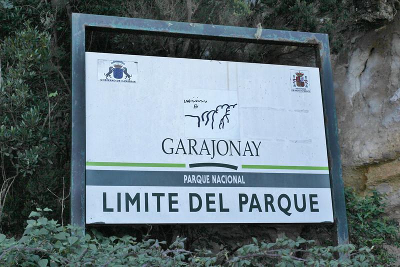 Sign, border of the National Park Garajonay