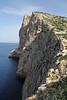 Steep limestone rocks habitat of Falco eleonorae, near Cap Llebeitx, Island, Parc Naturel de sa Dragonera