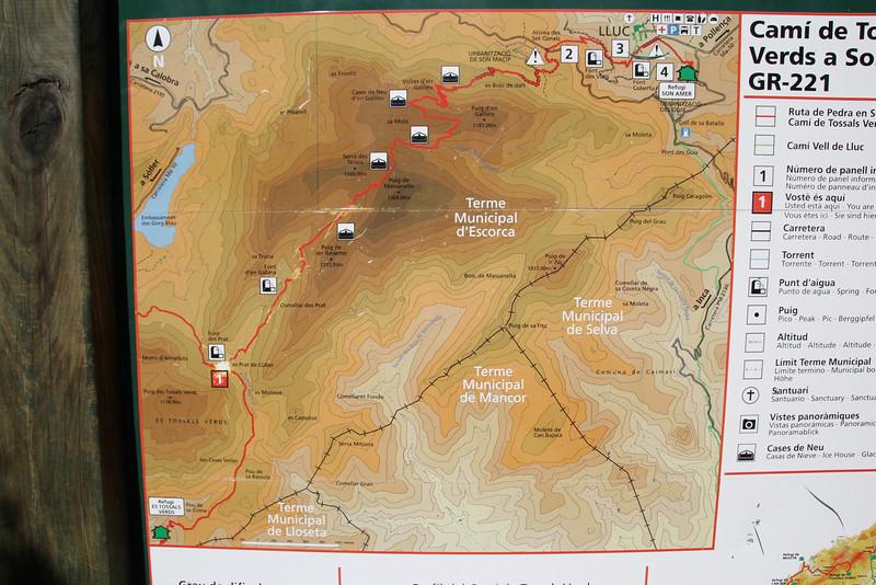 Map Prat de Cúber 650m - GR 221 - Masanella 1365m
