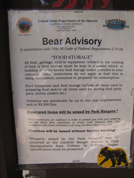 Bear advisory, Lost Creek Campsite in Crater Lake National Park