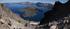panorama view from Watchman Overlook on Crater Lake and Wizard Island, Crater Lake 1882m (average surface elevation)