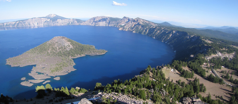 panorama view from Watchman Peak with Wizard Island 2116m in Crater Lake