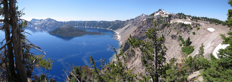 panorama-view from the North junction 2142m, with Wizard Island 2116m and Watchman Peak 2442m. Crater Lake National Park