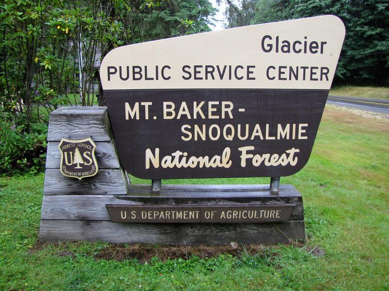 Sign of Glacier Center, Mount Baker, Snoqualmie National Forest, Washington