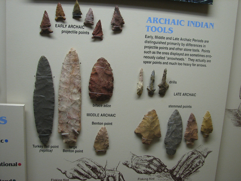 Stone tools of Archaic indians (info center Tenn. Tom. Waterway, Columbus)