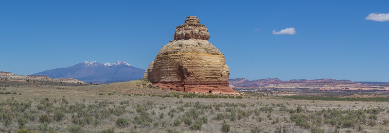 Church Rock, The La Sal Mountains are in the background.