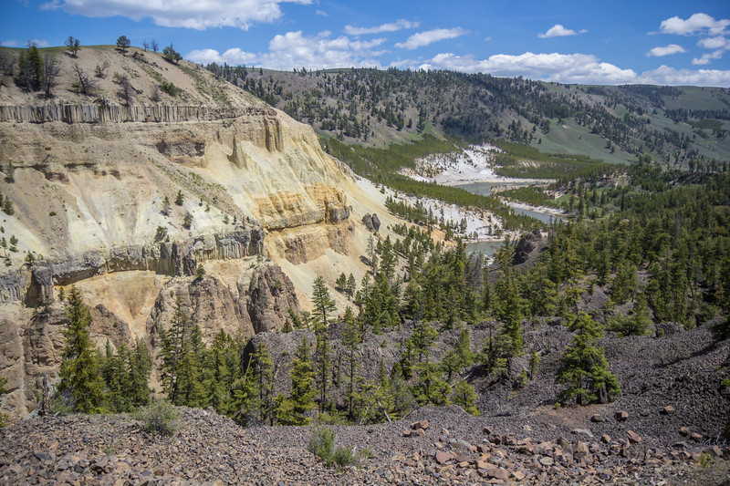 Basalt rocks and Yellowstone River
