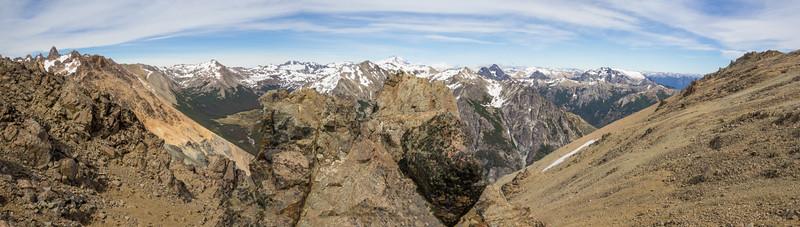 Panorama Cerro Catedral 2405m and Cerro Tronador 3554m