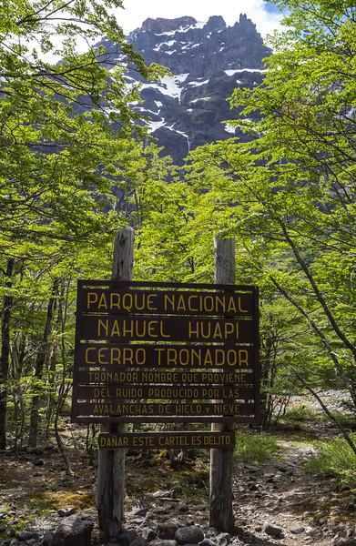 sign near Cerro Tronador- 3554m,