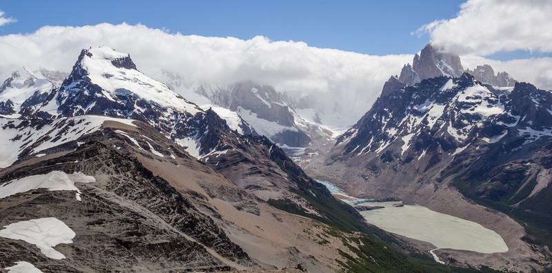 Cerro Grande, Cerro Torre (foggy) and Cerro Fitz Roy