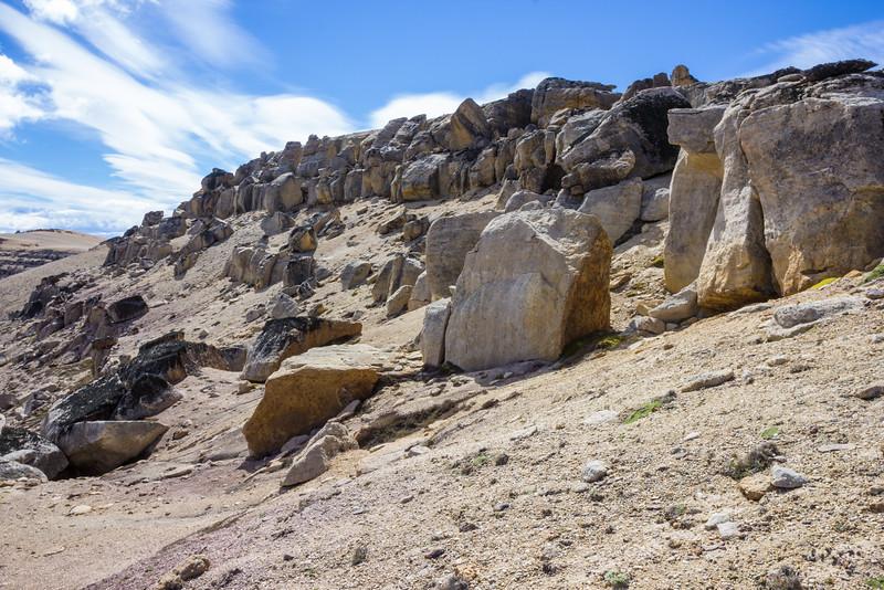 Sandy and rocky hillside