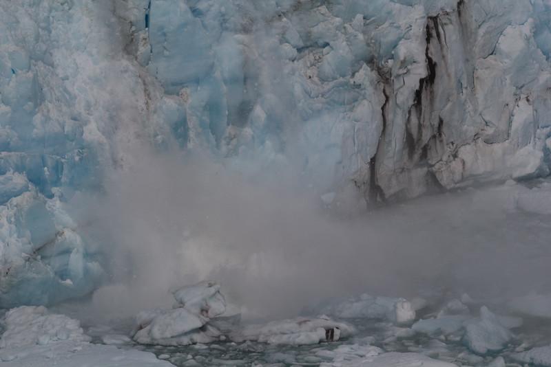 Falling glacier ice