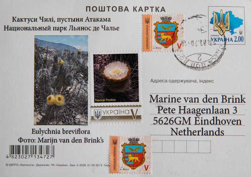 Ukraine post-card  with habitat and stamp with Eulychnia breviflora