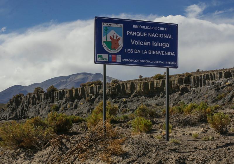 Sign, Parque Nacional Volcán Isluga,