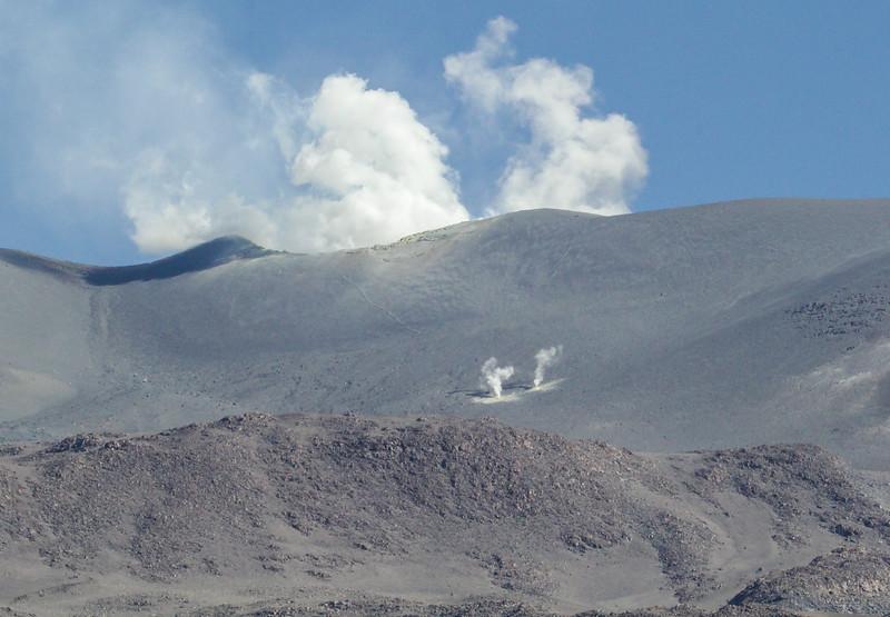 Active Isluga volcano with fumaroles