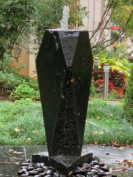 Diebold fountain in courtyard.
