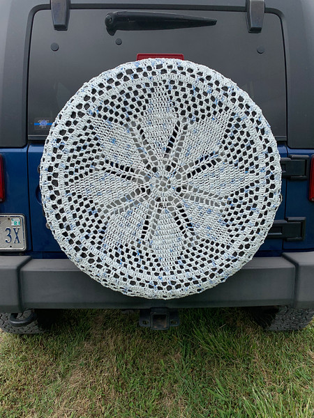 Connie H spare tire cover.  She crocheted it from plastic shopping bags, cut into strips
