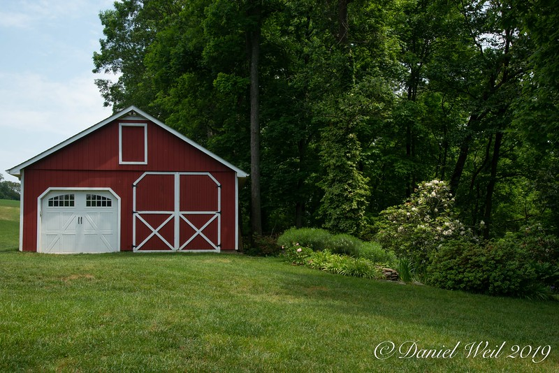 Barn with Fish Pond on right