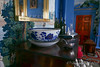 Dining room, sideboard N wall.  Wallpaper, 'Monuments of Paris'-- I think.