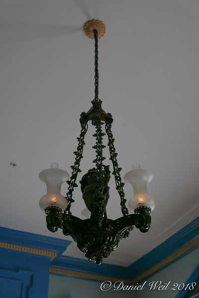 Dining room, original chandelier.  First candle, then mod to gas, then electric.