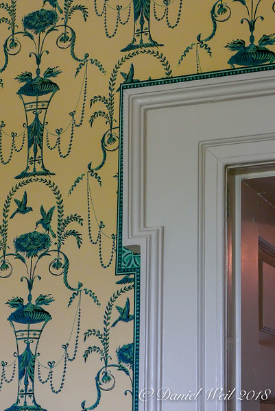NE room, architrave and wallpaper pattern