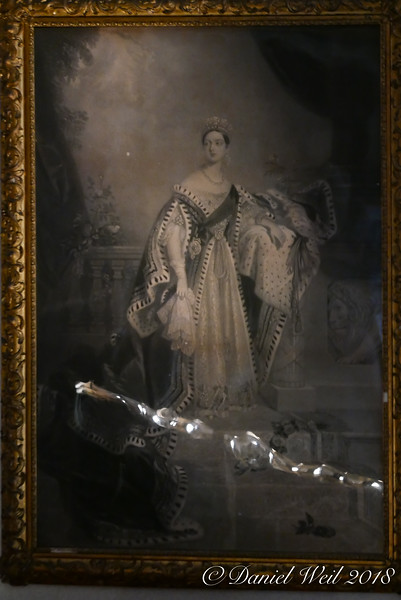 Queen Victoria, in music room.  Weird silver bubbles are from lights concealed in guard rails.
