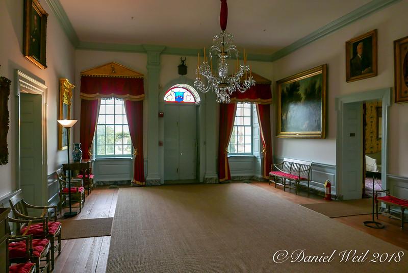 Great Hall, looking S. Over door, Ridgly coat of arms