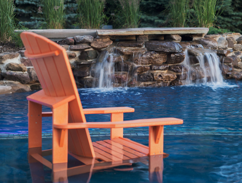 Adirondack Chair and Fountain