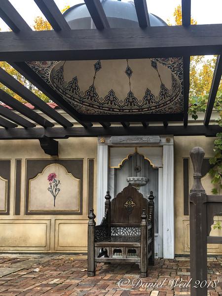 Throne under dome in pergola, Ottoman garden, MOBOT