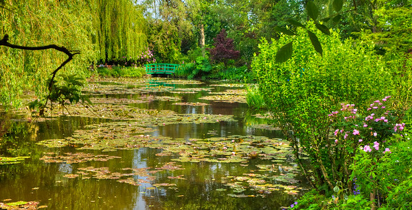 In Monet's garden at his famous bridge, Giverny, France.
