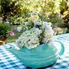 White Flowers in Pastel Green Vase