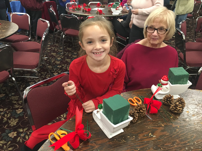 Kylie Lowe, 7, of Woburn, and her nana, Judi Ciampa of Billerica, enjoyed this holiday activity. Photo by Mary Leach